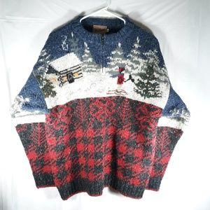 Woolrich Sweater Winter Scene Deer Houndstooth